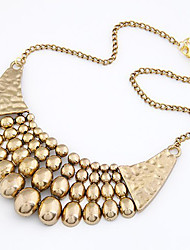 Fashion Gold Chunky Chain Lots of Golden Beads Tassels Collar Chokers Bib Statement Necklaces Women Jewelry