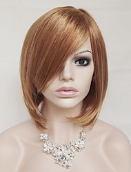 Women Synthetic Wig Capless Short Straight Strawberry Blonde/Bleach Blonde With Bangs Party Wig Natural Wigs Costume Wig