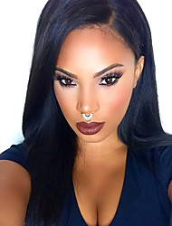 cheap -TOP Natural Black Silk Straight Synthetic Lace Front Wigs 100% Heat Resisitant Synthetic Hair For Women  In Stock