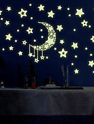 cheap -Luminous Night Sky Moon With Stars Luminous Wall Stickers DIY Children's Bedroom Living Room Wall Decals