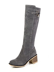 Women's Shoes Fall / Winter Riding Boots / Round Toe Boots Dress / Casual Chunky Heel Zipper Black / Gray / Almond