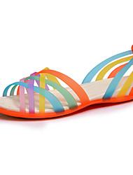 Ženske cipele-Sandale-Ležerne prilike-Guma-Kockasta potpetica-Zaobljene cipele-Plava / Žuta / Crvena / Narančasta / Tamno crvena