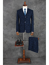 cheap -Navy Blue Patterns Tailored Fit Polyester Suit - Peak Single Breasted One-button