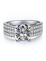 Anillos De mujeres Diamantes Sintéticos Plata / Chapado en Plata Plata / Chapado en Plata 4.0 / 5 / 6 / 7 / 8 / 8½ / 9 / 9½ Plata