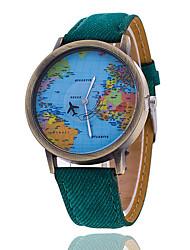cheap -Men/Women Plane Map Case Denim Fabric Band Analog Quartz Wrist Watch Cool Watch Unique Watch Fashion Watch