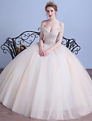 Ballkleid aus der Schulter Bodenlänge Tüll Brautkleid mit Kristall von drrs