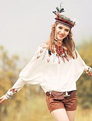 abordables -De las mujeres Simple Casual/Diario Verano Camiseta,Escote Redondo Estampado Manga Larga Algodón Blanco / Negro Fino