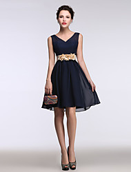 cheap -A-Line Fit & Flare V-neck Short / Mini Chiffon Cocktail Party Homecoming Dress with Flower(s) by Shang Shang Xi