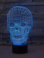 Amazing 3D Lllusion Skull Light LED Table Desk Lamp Night Light With 7 Color Light