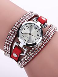 Women's Bohemian Style Crystal Leather Band White Case Analog Quartz Bracelet Fashion Watch