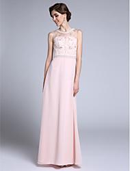 Tubinho Decote Princesa Longo Chiffon Vestido Para Mãe dos Noivos - Detalhes em Cristal de LAN TING BRIDE®