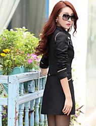 Women's Daily Wear Classic & Timeless Spring Fall Blazer,Solid Peter Pan Collar Long Sleeves Long N/A Formal Style