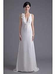 cheap -Sheath / Column Plunging Neckline Sweep / Brush Train Chiffon Wedding Dress with Flower by LAN TING BRIDE®