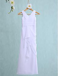 baratos -Tubinho Decote V Longo Chiffon Vestido de Daminha de Honra com Babados em Cascata Franzido de LAN TING BRIDE®
