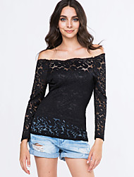 Women's Off The Shoulder/Lace Vogue Lace Bateau Long Sleeve Hollow Out Lace T-shirt
