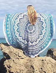 cheap -Women's Boho Round Cover-Up,Tassels / Floral Cotton / Polyester Purple / Green / Black / Dark Blue / Light Blue
