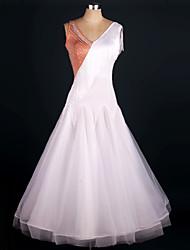 Shall We Ballroom Dance Dress Women Performance Elastic Silk-like Satin / Organza Ruched 1 Piece Fuchsia / Purple