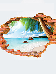 3D Summer Beach Broken Wall Design 3D Wall Stickers Fashion Creative Landscape Living Room Bathroom Wall Decals