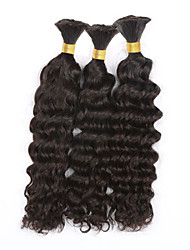 cheap -Brazilian Hair Deep Wave / Curly Weave Natural Color Hair Weaves 3 Bundles Human Hair Weaves Black Human Hair Extensions