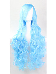 The new European and American high-temperature  Wire, Sky Blue Long Hair Wig80CM