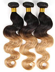 "Halloween Ombre Body Wave Remy Human Hair Weft Weave Extensions 300g Natural Black To Ginger Blonde 3 Pcs/Lot 10""-26"""