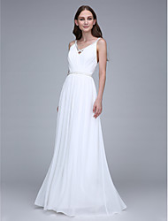 cheap -Sheath / Column Spaghetti Straps Floor Length Chiffon Bridesmaid Dress with Crystal Detailing by LAN TING BRIDE®