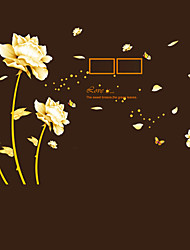 cheap -Creative DIY Gold Flower Time Wall Art Photo Stickers PVC Removable Living Room Sofa Wall Stickers