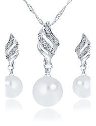 Women's Bridal Jewelry Sets Necklace/Earrings Casual Fashion Wedding Party Daily Casual Imitation Pearl Rhinestone Alloy Earrings