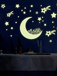 cheap -Luminous DIY Fashion Moon City Star Luminous Wall Stickers PVC Removable Bedroom Living Room Wall Decals