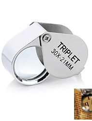 cheap -30x21mm Portable Fold-up Stainless Steel + Glass Magnifier for Jewelry