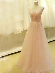 cheap -A-Line Illusion Neckline Sweep / Brush Train Tulle Prom Formal Evening Dress with Beading Appliques by TS Couture®