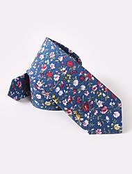 baratos -floral azul de algodão gravatas finas