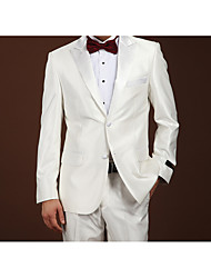 cheap -White Solid Colored Slim Fit Wool Suit - Notch Single Breasted Two-buttons / Suits