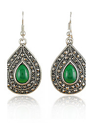 Feminino Moda Jóias de Luxo Pedras preciosas sintéticas Resina Strass Imitações de Diamante Liga Formato Oval Caído Jóias Para Diário