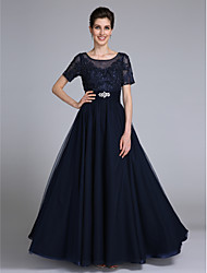 Sheath / Column Scoop Neck Floor Length Chiffon Lace Mother of the Bride Dress with Beading Appliques Crystal Detailing by LAN TING BRIDE®