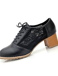 Women's Heels Summer Heels PU Casual Chunky Heel Lace-up Black / White / Beige