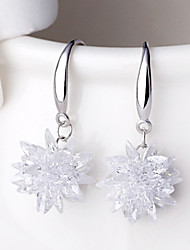 cheap -2016 Korean Women 925 Silver Sterling Silver Jewelry Crystal Flower Earrings Drop Earrings 1Pair