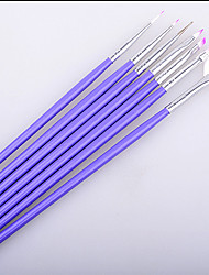 cheap -Fashion Wonem 7Pcs Purple Nail Brush Set Crystal Nail Polish Brush Kits Nail Tips Brushes