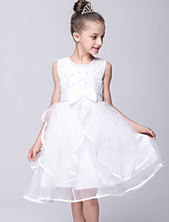 A-Line Knee Length Flower Girl Dress - Organza Satin Sleeveless Jewel Neck with Bow(s) by YDN
