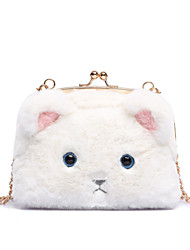 Women Bags All Seasons Metal Shoulder Bag Fur for Casual White Black Blushing Pink Light gray
