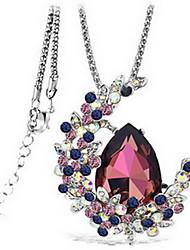 baratos -Mulheres Cristal Colares com Pendentes - Cristal Dupla camada, Fashion Roxo, Azul Colar Para Festa, Diário, Casual