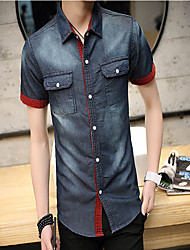 Men's Casual/Daily Simple Summer Shirt,Solid Short Sleeves Cotton