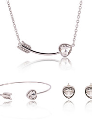 Jewelry Set Adjustable Adorable Gift Boxes & Bags Silver Necklace/Bracelet Necklace/Earrings Set Wedding Party Daily Casual 1setNecklaces