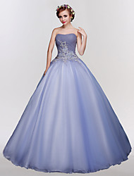 Ball Gown Strapless Floor Length Tulle Formal Evening Dress with Crystal Detailing Embroidery Lace by SG