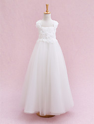 cheap -Ball Gown Ankle Length Flower Girl Dress - Tulle Sleeveless Straps with Bandage Flower by LAN TING BRIDE®