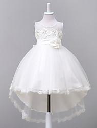 robe de bal asymétrique robe de fille fleur - organza sans manches cravate avec applique par likestar