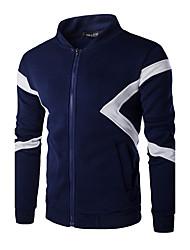 preiswerte -Herren Kapuzenshirt-Einfarbig Freizeit / Sport Baumwolle Lang Blau / Weiß