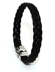 Punk Fashion Men's Bracelet Stainless Steel Pu Leather Easy Hook Bracelet Alloy Bracelet Chain Bracelets X Shape