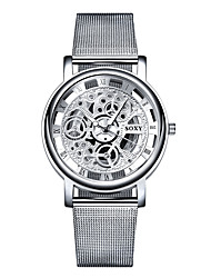 cheap -Men's Quartz Wrist Watch Hollow Engraving / Casual Watch Stainless Steel Band Elegant / Fashion White