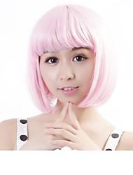 "cheap -Neitsi 100% Kanekalon Fiber 14""(35cm) 160g/pc Women's Girl's Cosplay Short Synthetic BOB Hair Wig Light Pink"